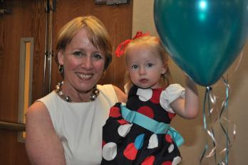 Jane and her granddaughter Lily at the Book Launch Celebration
